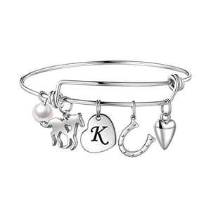 Anoup Horse Gifts for Girls Women Bracelet, Stainless Steel Horse Bracelet Engraved 26 Letters Initial K Charm Bracelet Horseshoe Bracelet Dainty Horse Jewelry Gifts for Teen Girls Kids Horse Lovers