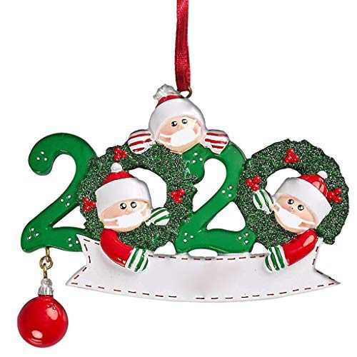winwintom 2020 Quarantine Personalized Ornaments, Christmas Ornaments Christmas Party Decoration, Survivor Family of Theme Decoration Personal Custom Christmas Decorating Set (1 Pcs, 05 Family of 3)