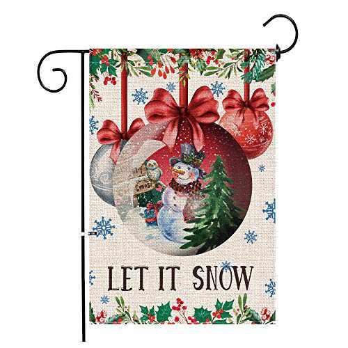 Hexagram Snowman Christmas Garden Flag,Burlap Yard Flag Double Sided,Winter Snowman with Christmas Ball Farumhouse Outdoor Decor,Small Christmas Flag 12x18 Prime
