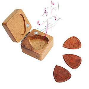 BicycleStore Wood Guitar Picks, 3 Pieces Plectrums Set Accessories Guitar Pick Set with Wood Storage Case for Ukulele, Bass,Jazz and Necklace Pendant