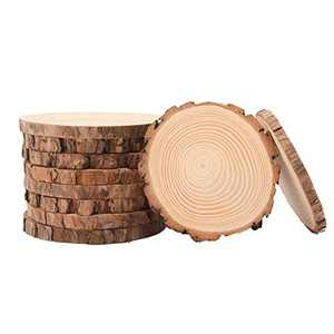 OPULANE Wood Slices 10 Pcs 5.1-5.5 Inch Unfinished Natural Craft Wood Circles Tree Slice with Bark Round Wood Discs for Crafts DIY Arts and Rustic Wedding Christmas Ornaments
