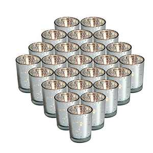 24 Packs Mercury Silver Glass Tea Light Candle Holders, Speckled Tealight Candle Votives for Table Décor, Christmas Decorations, Wedding Centerpieces, Guest Gifts, 2.75 Inch (H)