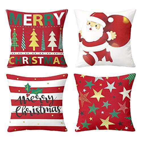 Maliton Christmas Throw Pillow Covers 18x18 Inches Vintage Farmhouse Christmas Decorations Pillowcase Cotton Linen Cushion Case for Home Decor Set of 4