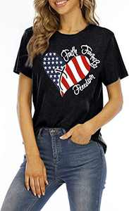 MNLYBABY Womens American Flag Print T-Shirt 4th of July Patriotic Shirt Casual Stars Stripes Print Tops Tees (Black, XXL)