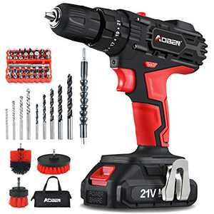 """AOBEN Cordless Drill Driver Kit,21V Impact Power Drill Set (2.0Ah),3/8"""" Keyless Chuck,21+3Clutch,2 Variable Speed,350 in-lb Turque,LED Lights & Screen,with 41 Accosories Bits,3 Cleaning Brushes"""