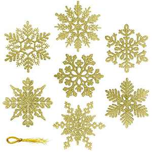 Glitter Snowflake Ornaments - 42pcs Hanging Windows Christmas Tree Decorations Christmas Crafts for Home Farmhouse Office Christmas New Year Winter Party Birthday Holiday(7 Style,Golden)