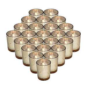 24 Pack Mercury Gold Glass Tea Light Candle Holders, Speckled Tealight Candle Votives for Table Décor, Christmas Decorations, Wedding Centerpieces, Guest Gifts, 2.75 Inch (H)