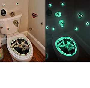 Enipate Horror Halloween Decorations Stickers Glow in The Dark 3D Zombie Toilet Stickers Waterproof PVC Bathroom Wall Decals Halloween Party Supplies