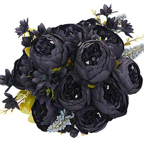 ANWBROAD Artificial Peony Flower 2 PACK Realistic Silk Peonies Flowers Vintage Fake Flowers Bouquets Home Wedding Office Party Decoration Floral Arrangements Centerpieces champagne Black ULAF001H