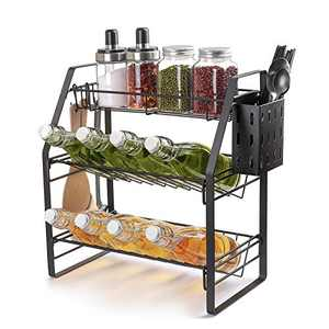 MaraFansie Spice Rack with Chopstick Cutlery Shelf & Hooks, 3-Tier Spice Organizer for Countertop Cabinet Pantry Bathboom Kitchen Office, Black