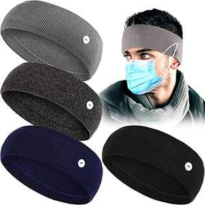 4 Pieces Button Lined Thick Knitted Headband Unisex Acrylic Headband Solid Color Headwrap
