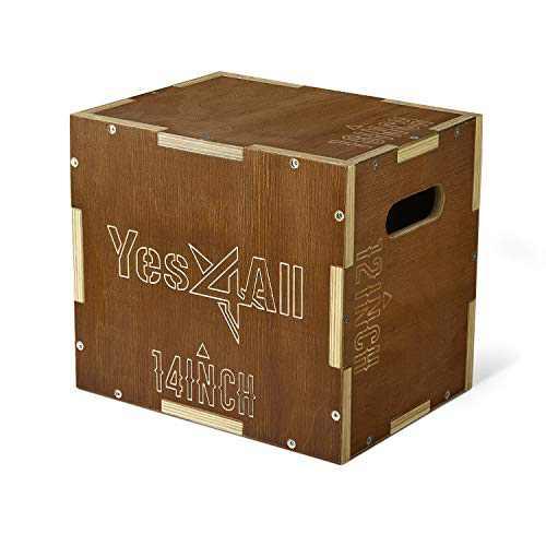 Yes4All Wooden Plyo Box - Vintage - Espresso - 16 x 14 x 12