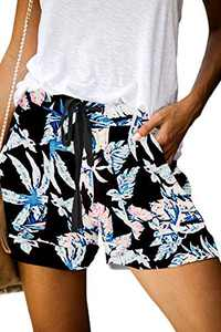ONLYSHE Womens Stretch Lounge Travel Shorts Elastic Comfy Workout Shorts with Pockets
