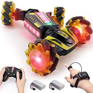 Remote Control Car with Gesture Control, DoDoeleph 4WD 2 Sided RC Car, On Road / Off Road, 15km/h, 2.4GHz 360° Rotating Monster Truck, Gift for Boys Girls Aged 8-12