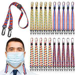 20 Pieces Adjustable Face Covering Lanyard with Clips Strap for Adult and Kids, Face Covering Holder Around The Neck/Ear Supporters for Face Covering Extender Ear Protector (4 Styles, One Size)
