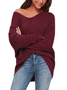 Boncasa Women's V Neck Long Sleeve Knit Top Off Shoulder Oversized Pullover Sweater Wine red 2BC39-jiuhong-L