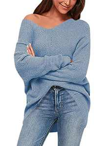 Boncasa Women's Batwing Sleeve Dolman Ribbed Knit Sweaters Oversized V-Neck Pullover Tops Blue 2BC39-tianlan-L