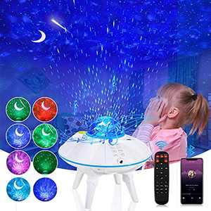Star Projector Galaxy Projector, Starry Night Light Projector with Remote Control, Bluetooth Music Speaker Ocean Wave Projector with Timer Brightness Adjustable As Gift for Kids Adults Bedroom