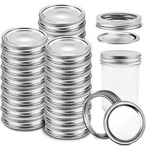 hatatit 24 Sets Split Type Canning Lids Reusable Mason Jar Lids Round Metal Ring Iron Sealing Covers Leak Proof Storage Caps for Mason Canning Jars(24 Lids And 24 Bands, 70mm)
