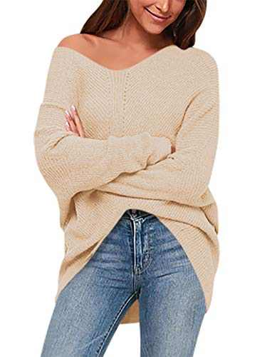 Boncasa Women's Loose Knitted Sweater Long Sleeve V-Neck Ripped Pullover Sweaters Crop Top Knit Jumper Khaki 2BC39-kaqi-M