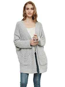 Anna-Kaci Womens Fuzzy Chunky Cardigan Batwing Sleeve Lightweight Duster Sherpa Slouchy Open Sweater Coat,Grey, Small