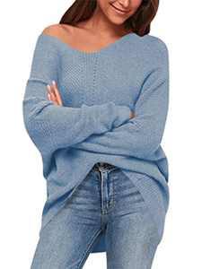 ANRABESS Women's V Neck Long Sleeve Oversized Sweater Off Shoulder Pullover Jumper A239tianlan-S Azure