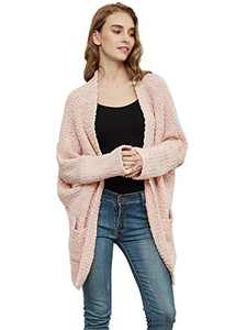 Anna-Kaci Womens Fuzzy Chunky Cardigan Batwing Sleeve Lightweight Duster Sherpa Slouchy Open Sweater Coat,Pink, Large