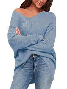 ANRABESS Women's V Neck Long Sleeve Oversized Sweater Off Shoulder Pullover Jumper A239tianlan-XL Azure