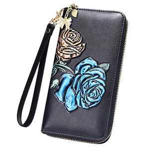FEITH&FELLY Women RFID Blocking Wallet Embossed Genuine Leather Wristlet Clutch Purse Handbag