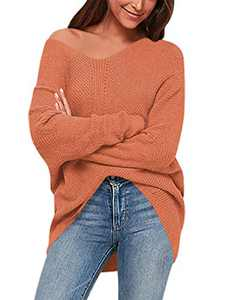 ANRABESS Women's Off Shoulder Long Sleeve V-Neck Ribbed Pullover Sweaters Loose Fitting Jumper A239yanzhi-XL Carmine