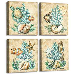 Bathroom Ocean Wall Art Canvas Painting Marine Life Underwater World Sea Turtle Goldfish Starfish Print Ancient Sea View Wall Art Mural Artwork Bedroom Decor 4pcs