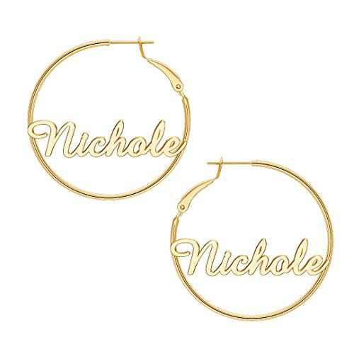 Nichole Name Earrings for Women Personalized, 925 Sterling Silver Post Hypoallergenic Thin Gold Hoop Earrings Custom Jewelry Name Earrings for Women 40mm, Personalized Earrings with Name
