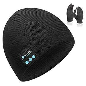 MISSHALO Bluetooth Beanie for Men,Wireless Knit Winter Hat with Gloves,Boyfriend Birthday Gifts for Men Teen Boys Classic Black