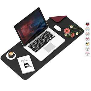 """Desk Mat Pad Blotter Protector 31.5""""x15.7"""", PU Leather Desk Mat Laptop Keyboard Mouse Pad with Comfortable Writing Surface Waterproof Black&Red"""