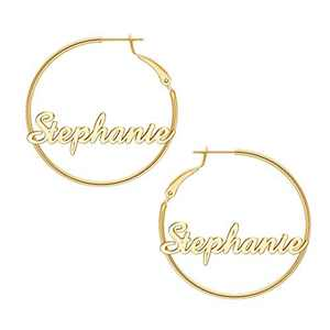 Stephanie Name Earrings for Women Personalized, 925 Sterling Silver Post Hypoallergenic Thin Gold Hoop Earrings Custom Jewelry Name Earrings for Women 40mm, Personalized Earrings with Name