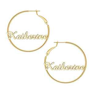 Katherine Name Earrings for Women Personalized, 925 Sterling Silver Post Hypoallergenic Thin Gold Hoop Earrings Custom Jewelry Name Earrings for Women 40mm, Personalized Earrings with Name