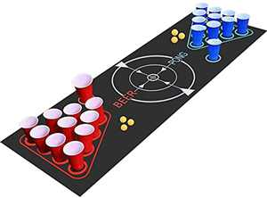 Faburo Rich Set for Beer Pong Include 1 Beer Pong Table Mat + 22 Party Plastic Cups (11 Blue & 11 Red)+ 6 Ping Pong Balls, Party Festivals Tournaments BBQ Games for adults
