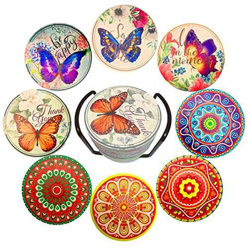 Absorbent Stone Mandala Ceramic Coasters for Drink with Cork Base, Holder, Birthday Housewarming Gift, Apartment Kitchen Room Bar Decor, for Kinds of Cups Mugs Wine Glasses Wooden Table, Set of 8