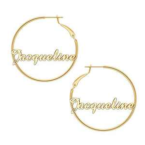 Jacqueline Name Earrings for Women Personalized, 925 Sterling Silver Post Hypoallergenic Thin Gold Hoop Earrings Custom Jewelry Name Earrings for Women 40mm, Personalized Earrings with Name