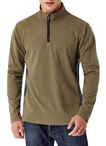 Derminpro Pullover Sweaters for Men Regular Fit Quarter-Zip Fleece Jackets Army Large