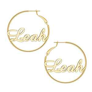 Leah Name Earrings for Women Personalized, 925 Sterling Silver Post Hypoallergenic Thin Gold Hoop Earrings Custom Jewelry Name Earrings for Women 40mm, Personalized Earrings with Name