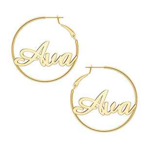Ava Name Earrings for Women Personalized, 925 Sterling Silver Post Hypoallergenic Thin Gold Hoop Earrings Custom Jewelry Name Earrings for Women 40mm, Personalized Earrings with Name