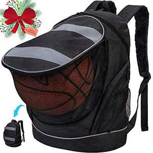 Basketball Backpack, Soccer Bookbag with Ball Holder, Football Compartment Bag