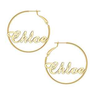 Chloe Name Earrings for Women Personalized, 925 Sterling Silver Post Hypoallergenic Thin Gold Hoop Earrings Custom Jewelry Name Earrings for Women 40mm, Personalized Earrings with Name