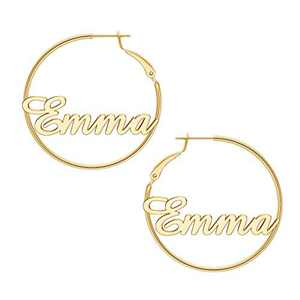 Emma Name Hoop Earrings Personalized, 925 Sterling Silver Post Thin Gold Hoop Earrings Jewelry Custom Name Hypoallergenic Earrings for Women Teen Girls Gifts Valentines Mother's Day Birthday