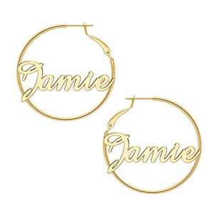 Jamie Name Hoop Earrings for Women Personalized, 925 Sterling Silver Post Thin Gold Medium Hoop Earrings Custom Name Jewelry Hypoallergenic Piercing Earrings for Women 40mm