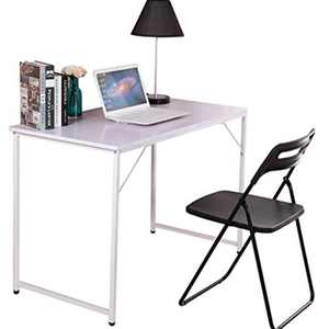 nozama Simple Desk Table Computer Desk for Small Space Home Office Writing Desk Simple Table for Students (White)