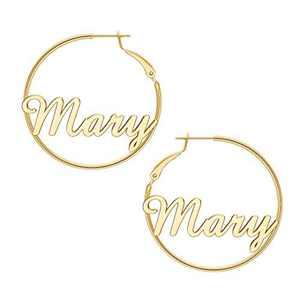 Mary Name Earrings for Women Personalized, 925 Sterling Silver Post Hypoallergenic Thin Gold Hoop Earrings Custom Jewelry Name Earrings for Women 40mm, Personalized Earrings with Name