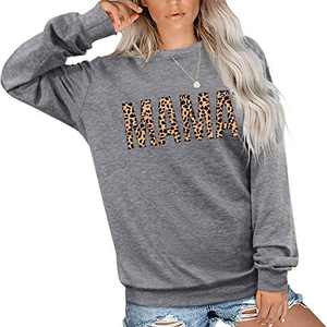 EGELEXY Mama Sweatshirt Women Cute Leopard Funny Letter Print Mom Blouse Tops Casual Long Sleeve Vacation Shirts Tops (Grey,X-Large)