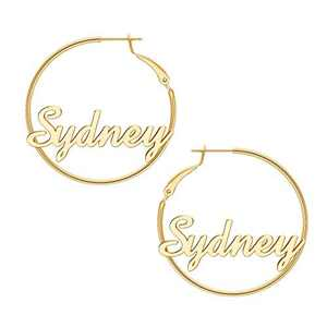 Sydney Name Hoop Earrings Personalized, 925 Sterling Silver Post Thin Gold Hoop Earrings Minimalist Jewelry Custom Name Hypoallergenic Earrings for Women Girls Gifts Valentines Mother's Day Birthday